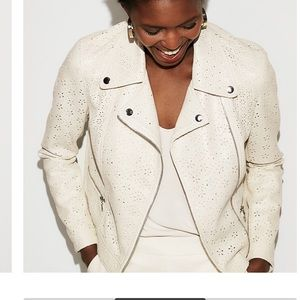 Faux Leather Perforated Boxy Moro Jacket